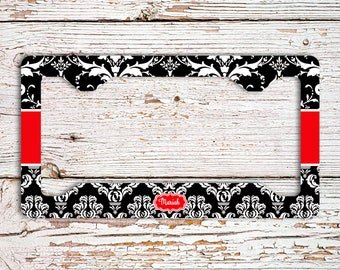 Unique housewarming gift, Monogram vanity car tag frame or cover, Black red damask, Red car accessories, Gift under 20 For Her(1423)