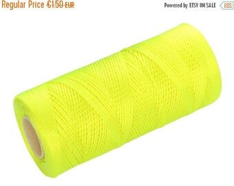 ON SALE 15 Meters Crochet Thread - Nylon Cord (not waxed) - Macrame String - Neon Yellow