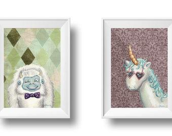 Set of 2 digital downloads - unicorn and yeti portraits
