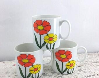 SUMMER SALE Adorable Orange and Yellow Flower Coffee Mugs