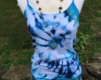 Women's Tie Dye Camisole Tank Top, Tie Dye Top for Women and Teens, Aqua Blue, Jade Green, Indigo and White Tie Dye Tank Top, Boho Top