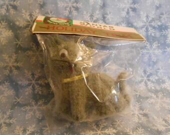 Vintage Flocked Grey Kitty Cat Ornament-Still In Bag - Santas World Holiday Trim - Kurt Adler
