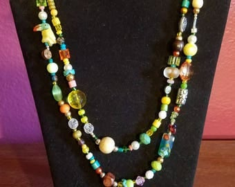 Yellow Tropical Bird Wrap Necklace