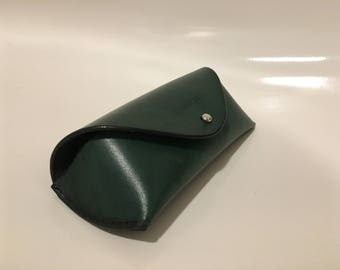 Green Leather Sunglasses Case