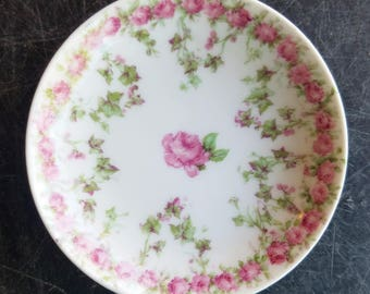 """Vintage Haviland Limoges, Schleiger 547, 3"""" Butter Pat, Butter Pats, Rose Band with Green Berries, Set of Three"""