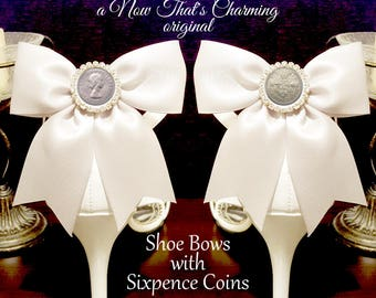 SALE! Shoe Bows with Sixpence Coins - Shoe Charms