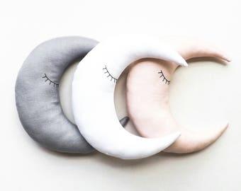 Moon Shaped Pillow, Hand Embroidered Sleepy Eye Moon, Baby Room Decor, Gender Neutral Nursery Decor, Minimalist Kids Room, Linen