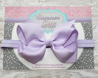 Baby Headband Bow, Infant Headband, Newborn Headband - Lavender Bow Headband, Headband, Boutique Bow on Fold over elastic