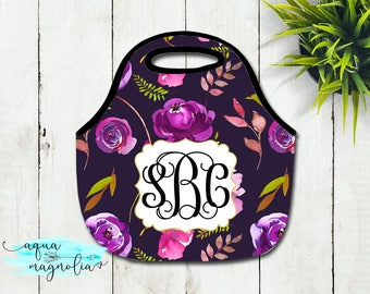 Monogrammed Lunch Tote - Watercolor Floral Roses - Personalized Tote - Lunch Box - Zippered Lunch Tote - Insulated Lunch Tote - Lunch Bag