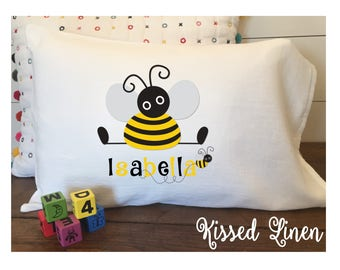 Personalized Cute Bumblebee on White Toddler Travel Pillowcase Soft 100% Cotton Flour Sack Fabric -Choice of Edging (Hemmed or Ruffled Lace)