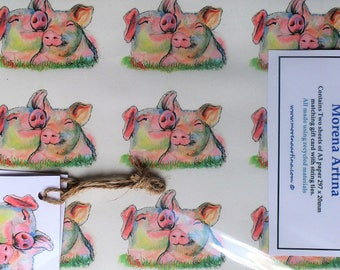 Pig Wrapping paper recycled Two tags Pig gift wrap, gift paper, gift tags