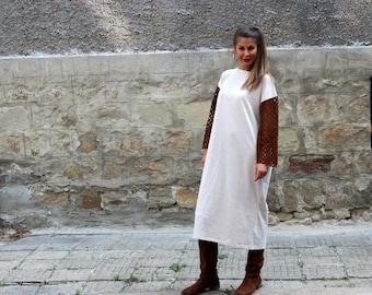 ON SALE Beige maxi dress/ Midi dress/ Long sleeve dress/ Fall dress