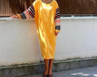 ON SALE Yellow Maxi dress/ Midi dress/ Long sleeve dress/ Elegant Dress/ Party dress/ Kaftan
