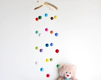 Felt Ball Mobile with Driftwood -- Colorful Poms Baby Mobile -- Neutral Gender -- Rustic Nursery Decor -- Ready to ship