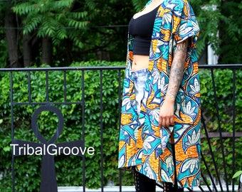 Floral Wax Print - African Print Kimono