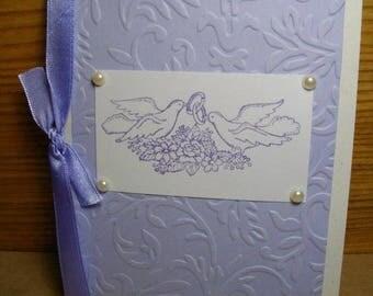 Lilac Wedding Doves Single Card