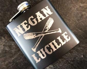Negan X Lucille, Negan, I Am Negan, Property of Negan, The Walking Dead, Negan Gift, Walking Dead Gift, Negan Flask, TWD, 8oz Hip Flask