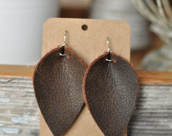 Distressed Brown Leather Earrings, Handmade, Inverted Teardrop