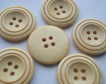 30mm Natural Wood Sewing Buttons, 4-Hole Round Wooden Button, Pack of 15 Wooden Buttons, W3004