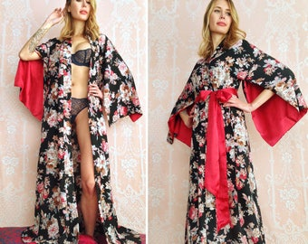 One ready-made black floral long 'Haiku' robe in faux silk crepe. Vintage Bohemian Boudoir Pinup Kimono Femme Fatale Gift for her. US 4-6.