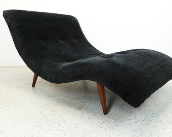 mid century modern Adrian Pearsall reupholstered black wave chaise