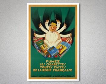 Fumez Les Cigarettes Toutes Faites de La Regie Française Vintage Poster - Poster Paper, Sticker or Canvas Print / Gift Idea
