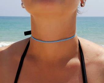 turquoise choker necklace beach aqua jewel tones summer vacation