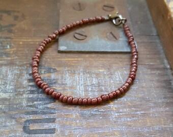 deep brown bracelet unisex mens bracelet beach surf seed bead vacation jewellery Portugal