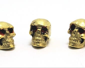 3 Gold Tone Pewter Red Eyed SKULL Beads - 12mm bead with 1.4mm HOLE- 1981