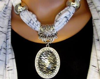 SUMMER SALE Scarf Jewelry Necklace Beaded Fringed Zebra Pendant Rhinestone