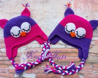 Crochet Owl hat.Pink purple owl hat.