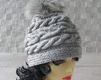 Pom Pom Hat Slouchy Beanie With Pom pom  Chunky knit hat for women Women trendy Hat Of high quality Handmade from Poland