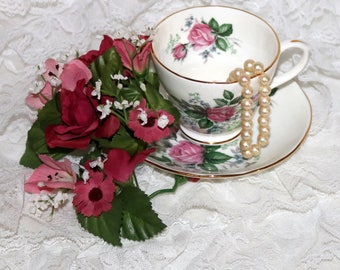 DUCHESS Fine Bone China Teacup & Saucer - Pink Roses Accented by Small Blue Flowers and Silver Leaves -  Made in England
