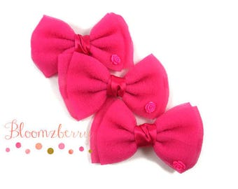 "5.5"" Classic Bows  - No Clip - Hot Pink Color - Veil Bows - Pinks Bow -Birthay Party Party/Craft Project - Hair Accessories Supplies"