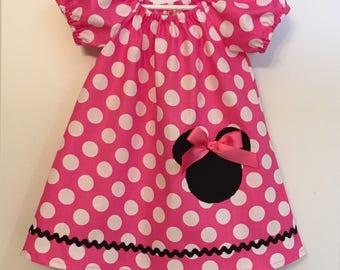 Minnie Pink Dress, Peasant Dress, Girl dress, Toddler dress, Minnie dress, Birthday dress, cake smash dress,