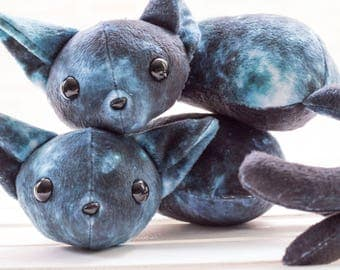 Blue Sleeping Galaxy Kitty Stuffed Animal, Plush Toy, Kitty Plushie, Galaxy Print, Stuffed Cat