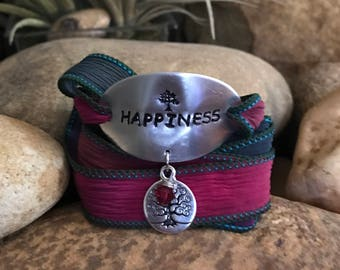 Happiness silk wrap bracelet - Great gifts for yoga enthusiasts or loved one - Christmas surprise stocking stuffer