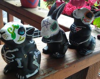 Day of the Dead bunny trio, altar bunnies