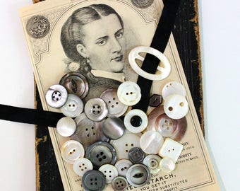 Mixed Mother of Pearl Button Lot*Vintage MOP Carved Buttons*Smoked and Natural Mother of Pearl Buttons and Buckles*28 Buttons and Buckle