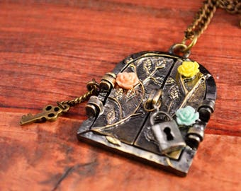 Fairy Necklace, Fairy Door Necklace, Fairy Jewelry, Fairy Tale Jewelry, Door Necklace, Door Jewelry, Fairy Ring, Fairy Ring Jewelry