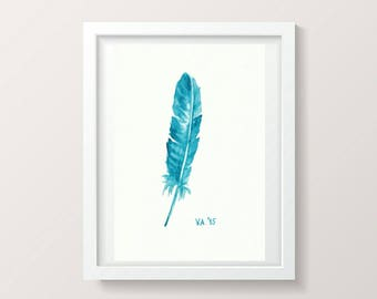 Bright Blue Wall Art Minimalist Painting Feather Watercolor Artwork Feather Wall Decor Blue Living Room Baby Boy Decor Nursery Blue Art