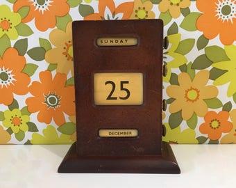 Vintage Wooden Perpetual Calendar
