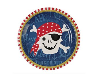 Ahoy There Pirate Plates - birthday party dinner dessert paper plates nautical boy
