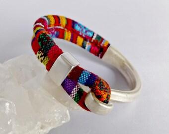 Fabric bracelet, boho bracelet, gift for her, textile bracelet, fabric jewelry, wrap bracelet, cuff bracelet, fabric bracelets, K12006