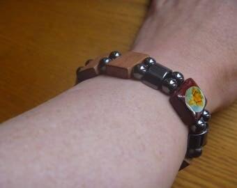 rosary style metal and wooden bracelet, ecofriendly OOAK elasticated bracelet