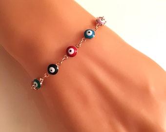 Evil Eye Beads Bracelet, Gold Evil Eye Bracelet, Evil Eye Charm, Amulet Charm, Gold Jewelry, Christmas Gifts, Gift for Her
