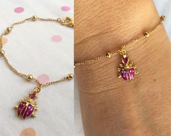 Purple Ladybird Bracelet, Kids Ankle Bracelet, Ladybug Charm Anklet Bracelet, Kids Jewelry, Toddler Jewelry, Gift for Her, Valentines Gift,