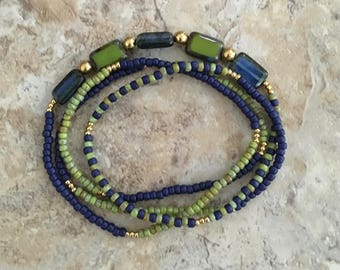 Blue & Green Wrap Bracelet