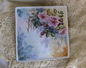 Handpainted porcelain plate with wild roses and blackberries