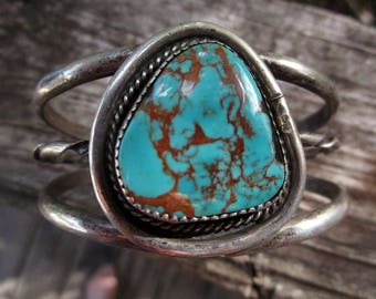 Native American Turquoise Cuff Bracelet Royston Sterling Silver